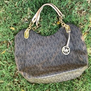 Michael Kors Jet Set Brown Signature Tote Purse